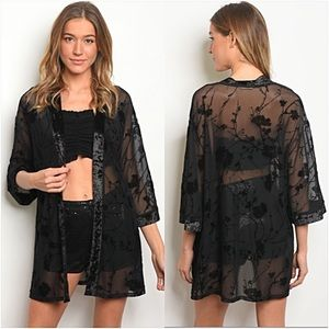 Accessories - Head Turning Velvet Mesh Kimono Cardi Wrap SMLXL